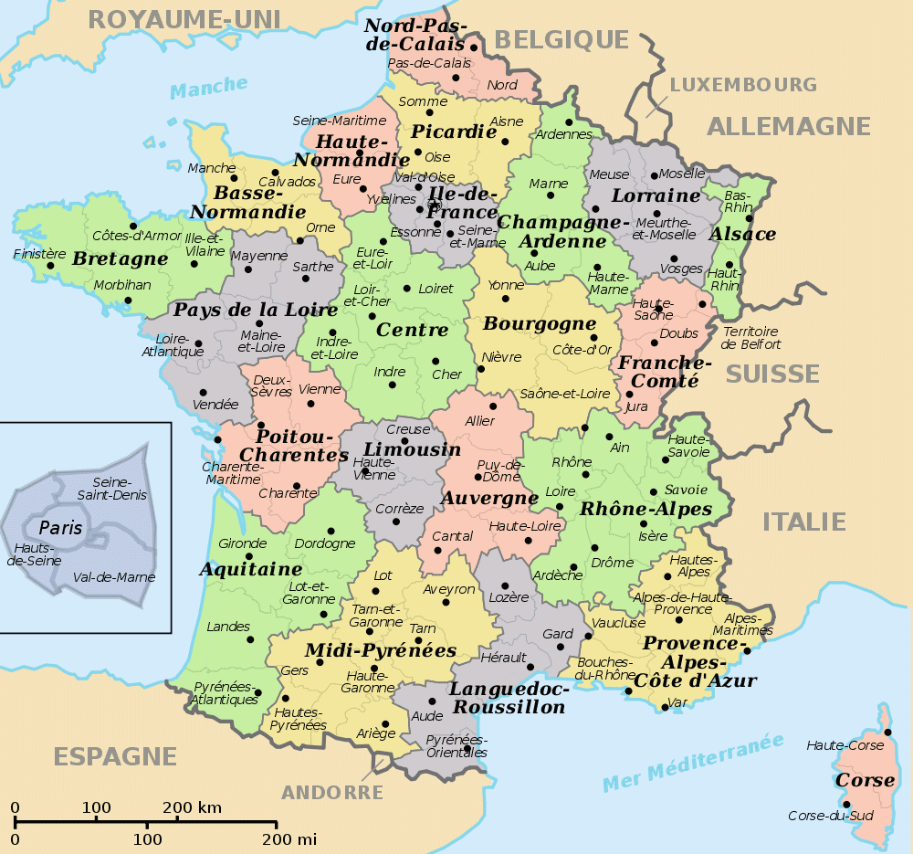 France map regions recana masana for Map of france